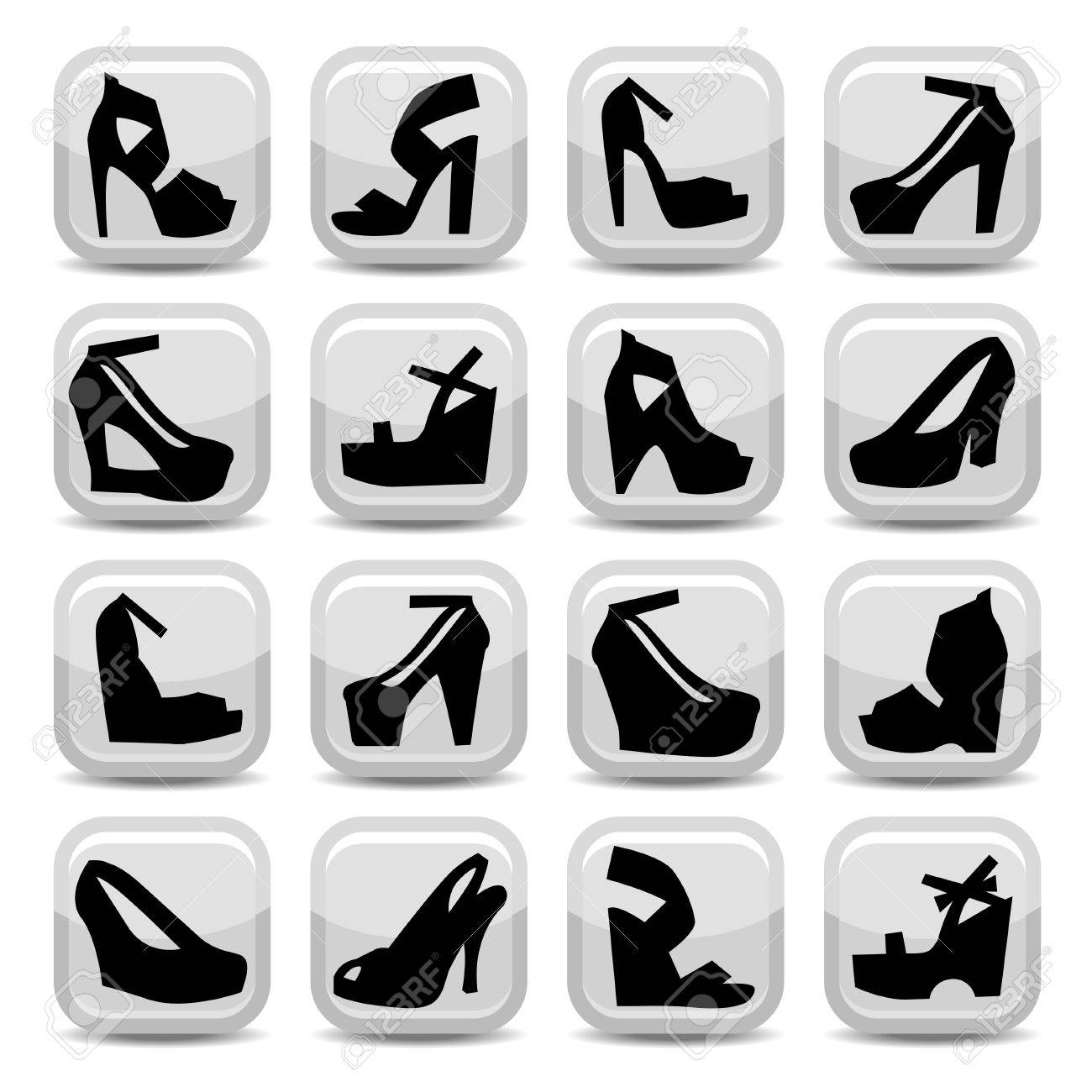 Elegant Fashion Shoes Icons Set Created For Mobile, Web And Applications. Stock Vector - 20953585