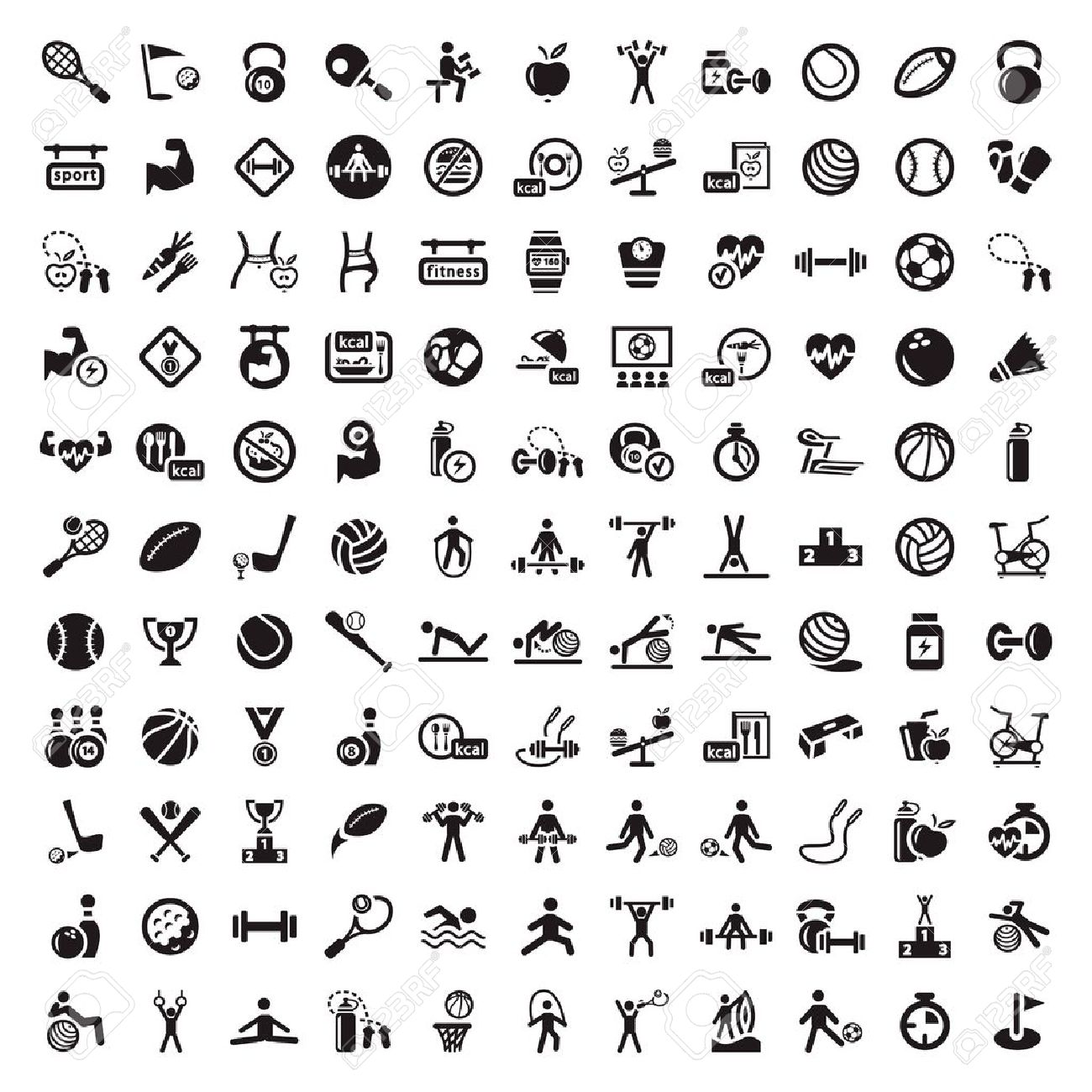 121 Fitness and Sport icons for web and mobile  All elements are grouped Stock Vector - 21729667
