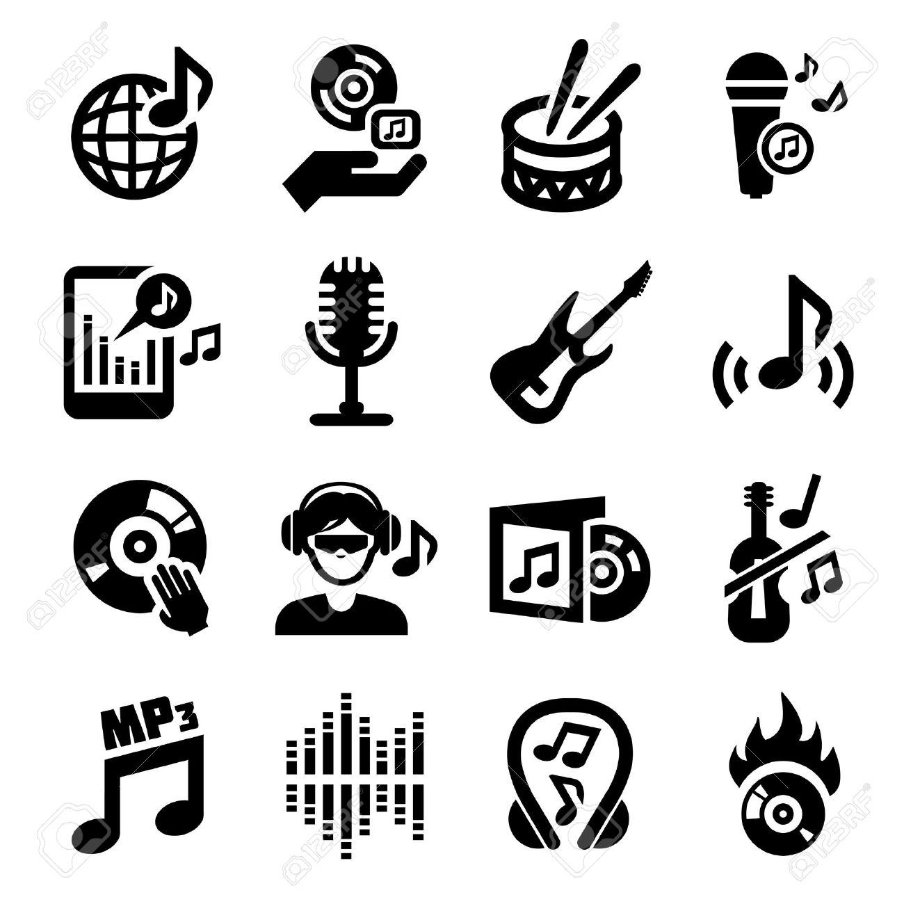 elegant vector music icon set for web and mobile royalty free rh 123rf com vector music artist vector musician