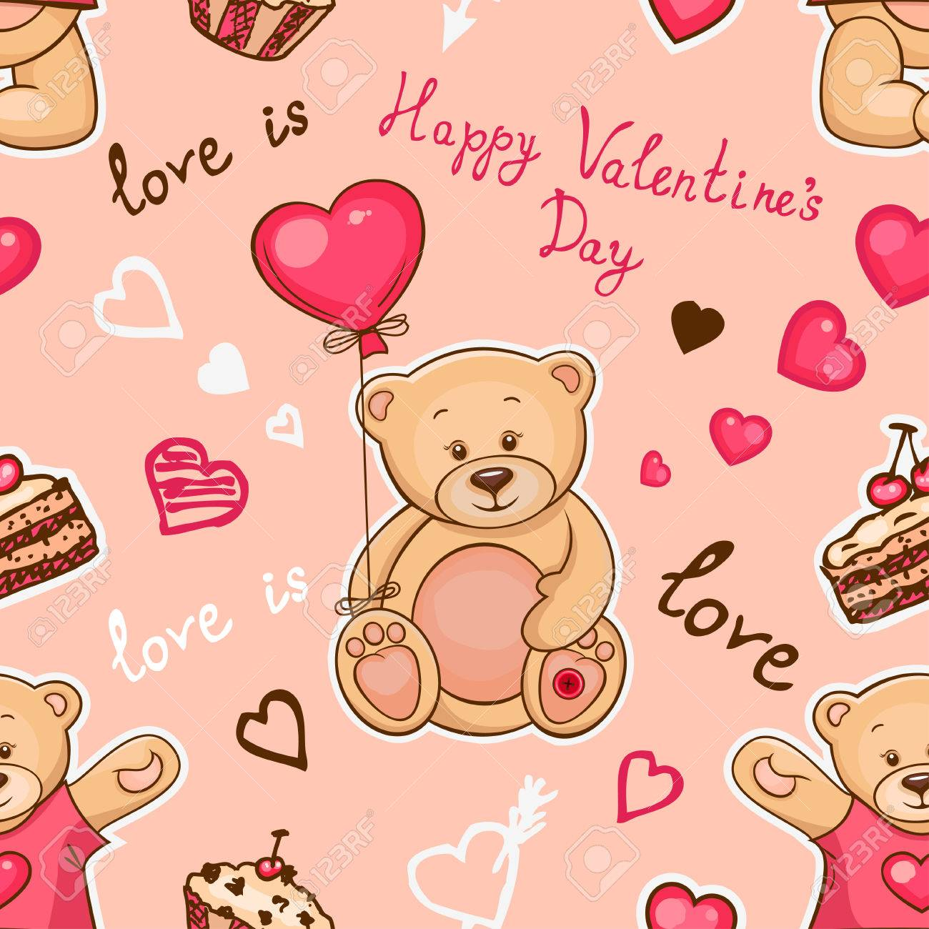Cute Seamless Valentine Background With Teddy Bears Use It For Childrens Wallpaper Gift Wrapping Prints For Baby Clothes Prints For Bedclothes