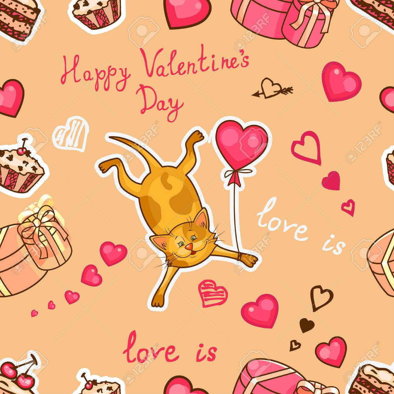 Seamless Valentine Background With Cute Cat Use It For Childrens Wallpaper Gift Wrapping Prints For Baby Clothes Prints For Bedclothes Greeting