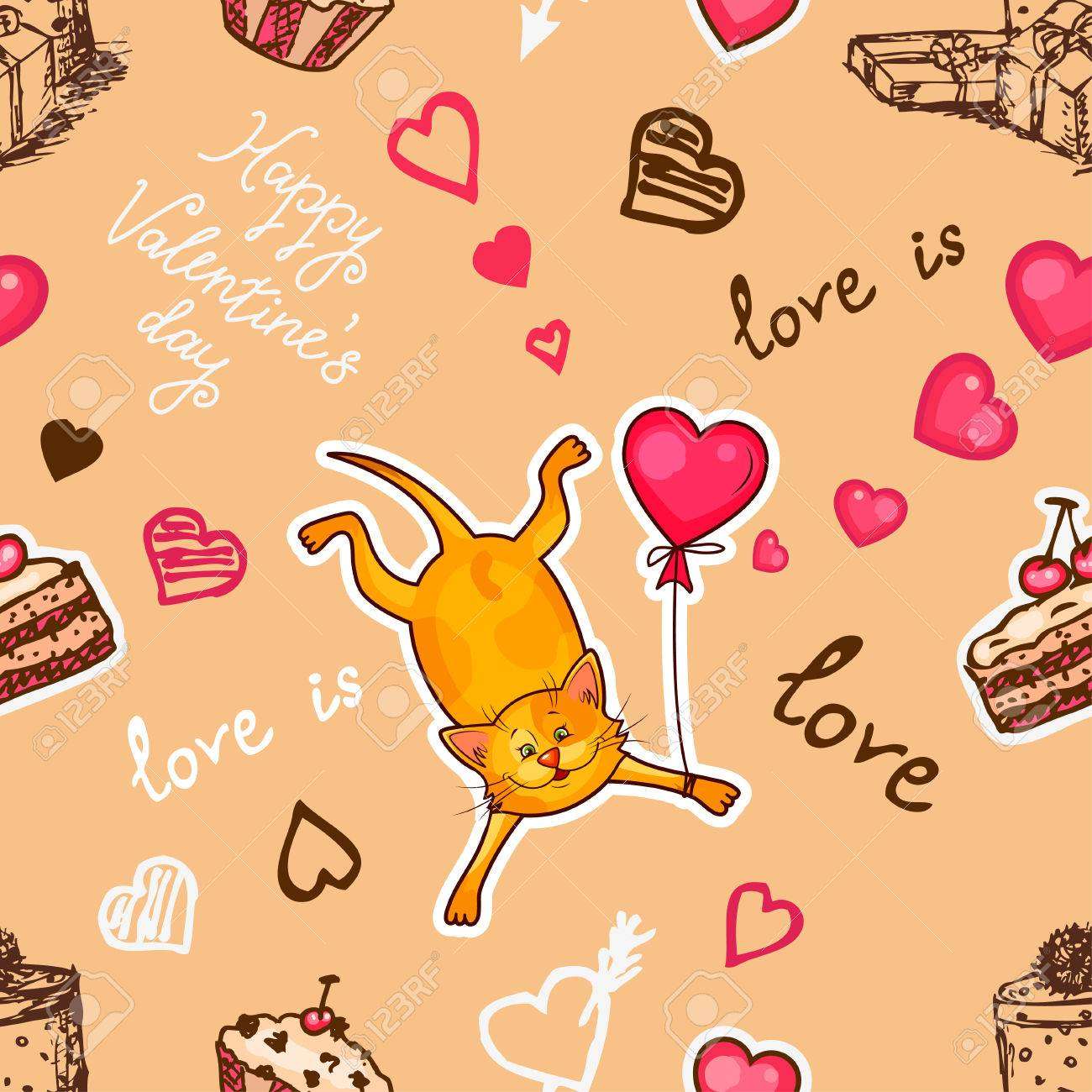 Seamless valentine background with cute cat use it for childrens seamless valentine background with cute cat use it for childrens wallpaper gift wrapping voltagebd Choice Image
