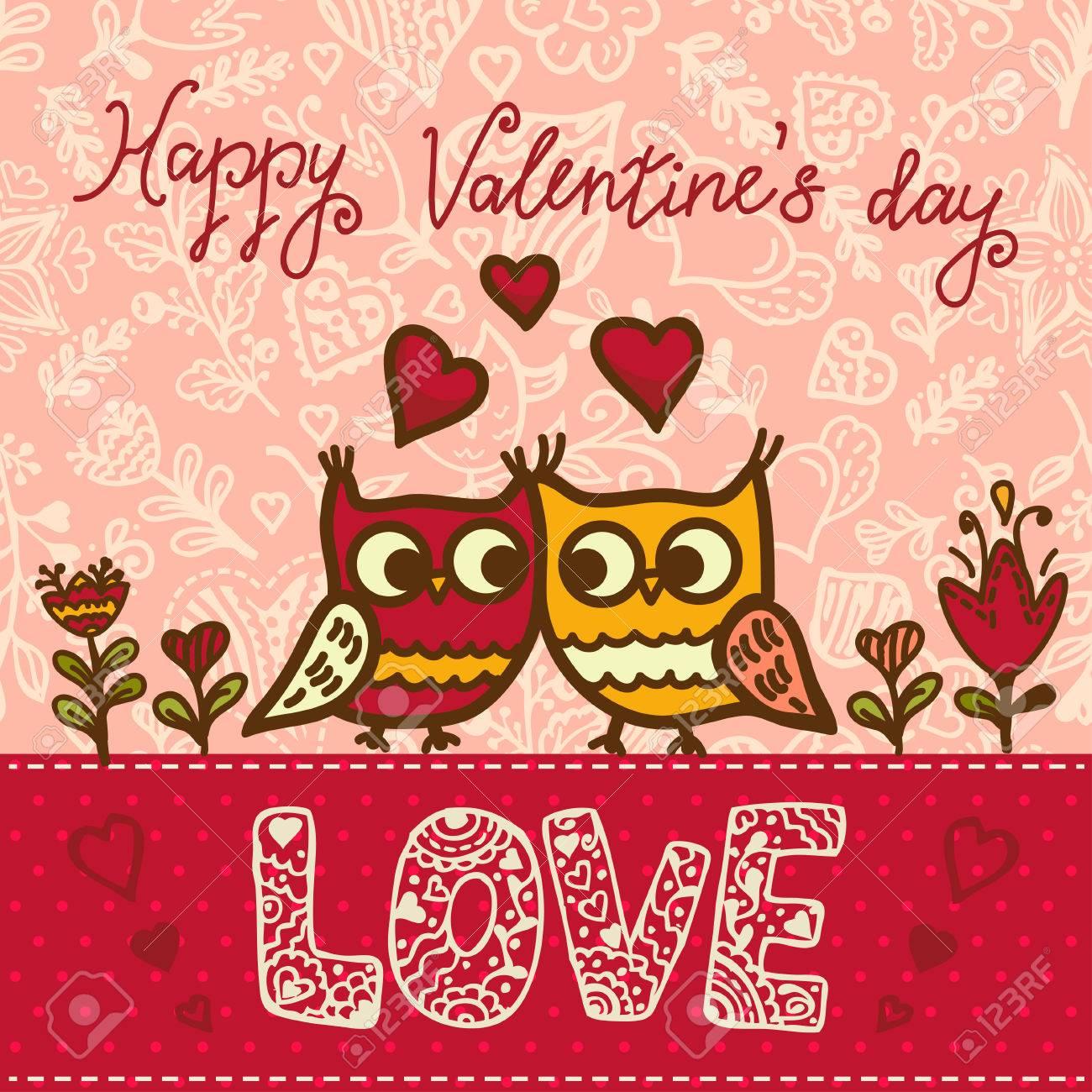 Cartoon Owls Birds Pattern Background Valentines Day Design
