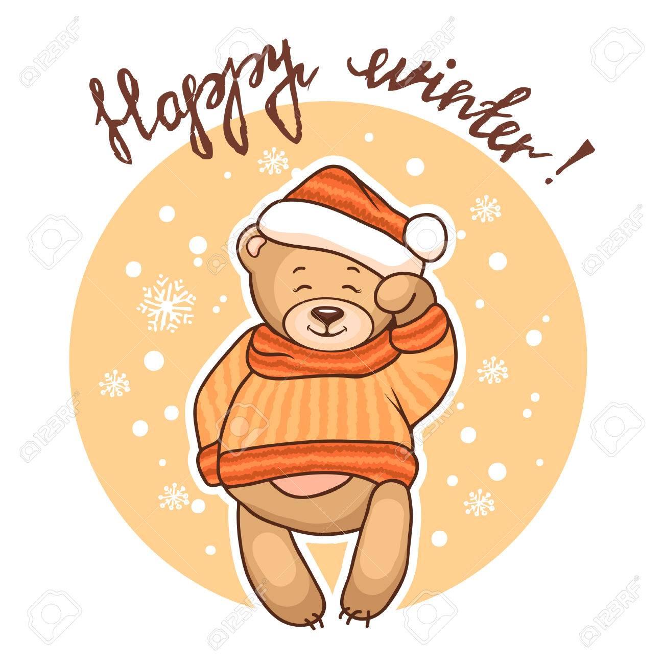 Cute Illustration Of Christmas Teddy Bear, For Xmas Design. Funny ...