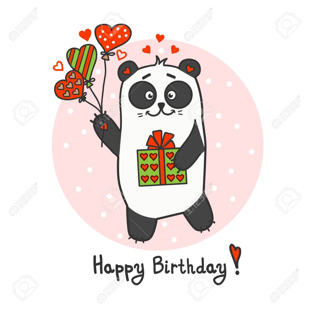 Happy Birthday Greeting Card With Cute Little Panda Royalty Free