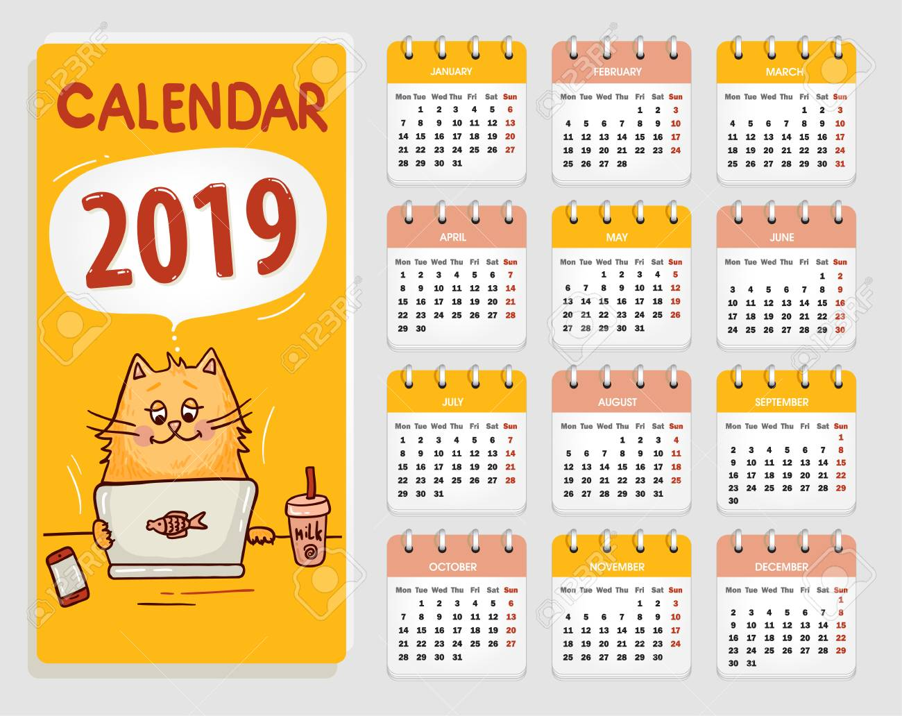Edit Calendar 2019 Vector Calendar 2019 With Cute Cat, All Elements Are In Separate