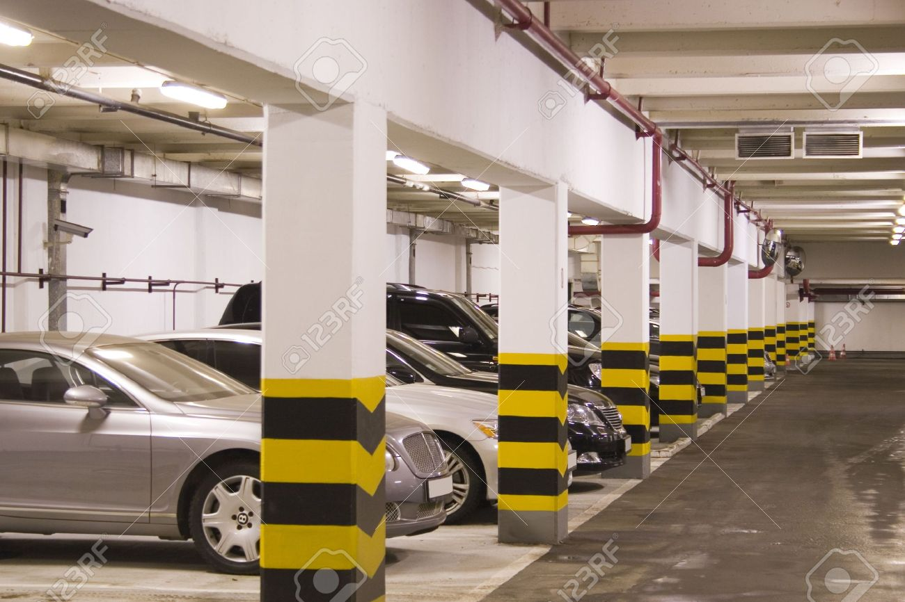Design of basement car parking - Stock Photo Underground Parking In Apartment House In Moscow