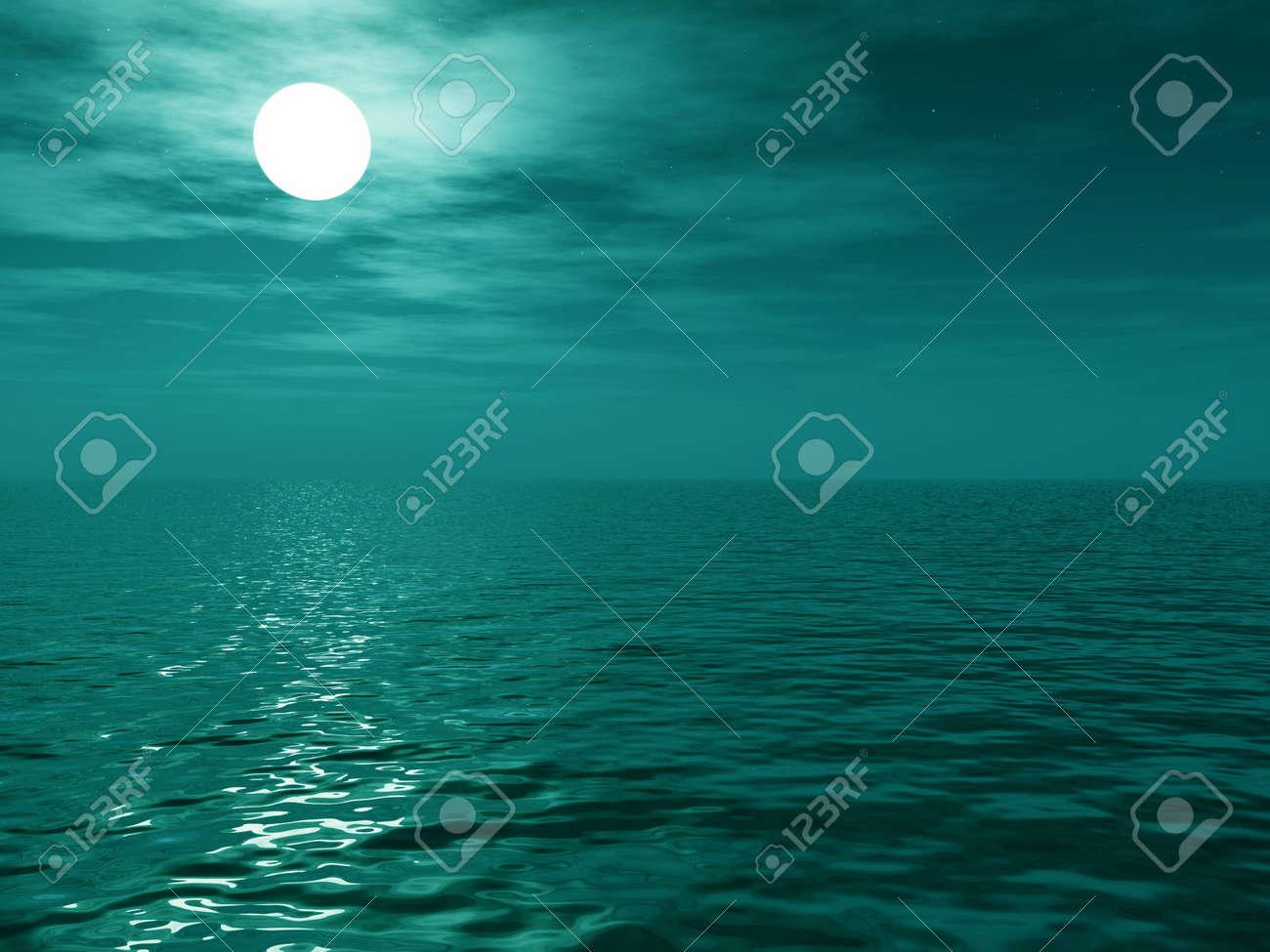 Full moon over the sea Stock Photo - 2322953