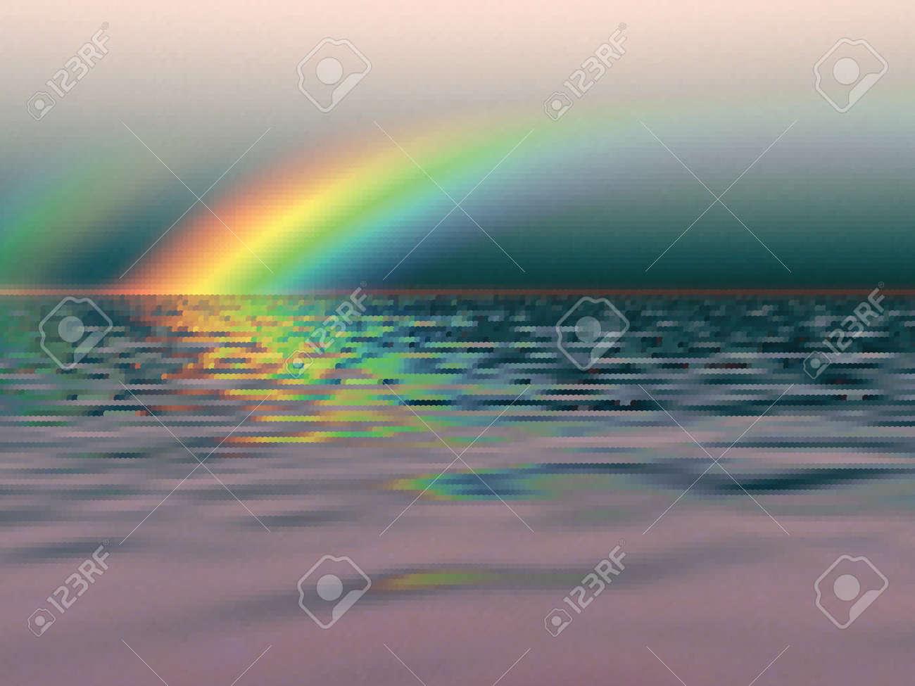 Rainbow over the sea Stock Vector - 10716202
