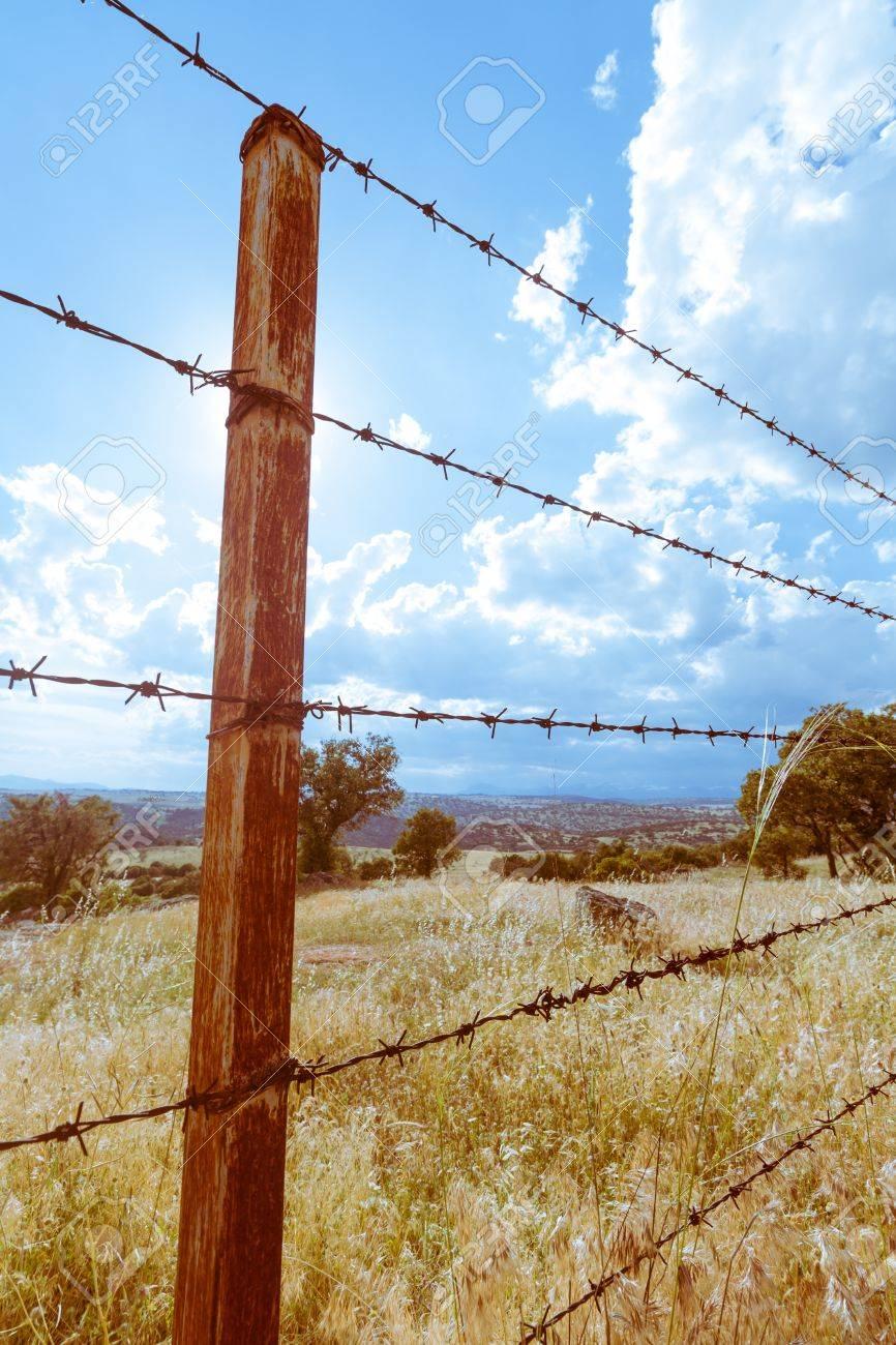 Ein Rostiger Zaun In Einem Feld In Der Nahe Von Madrid Lizenzfreie