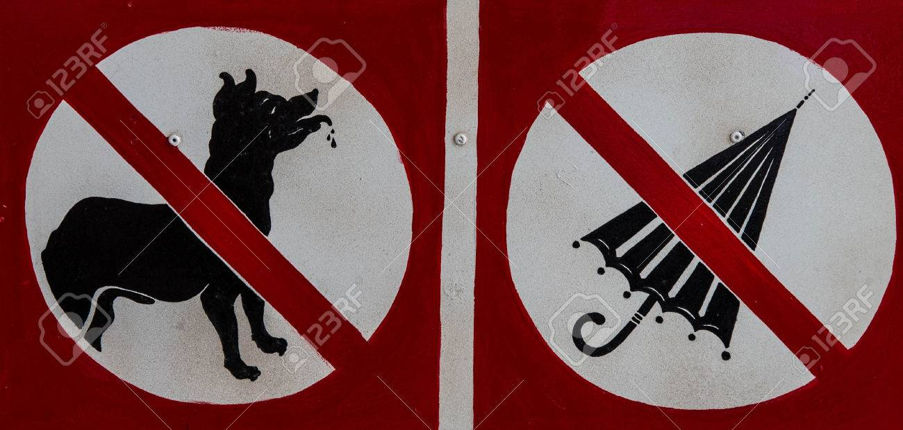 No dog and umbrella signs are shown at a museum. Stock Photo - 26008439