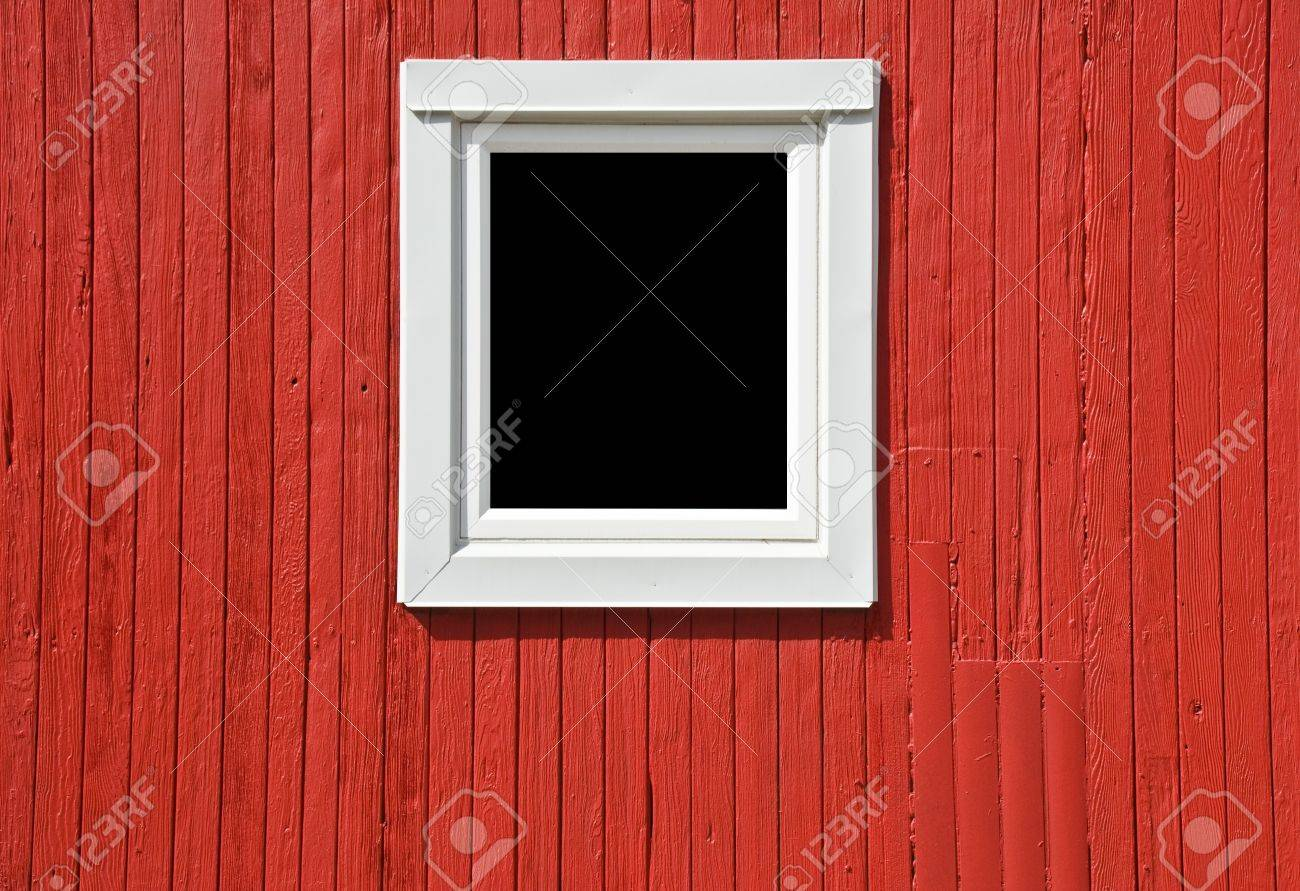 White window frame - Stock Photo White Window Frame On A Red Caboose