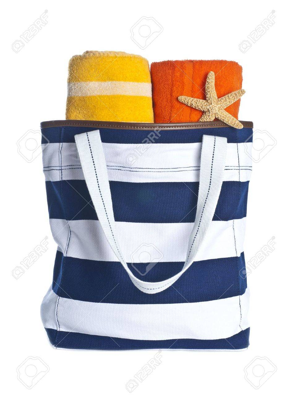 Beach Bag With Towels And Starfish Isolated On White Stock Photo ...