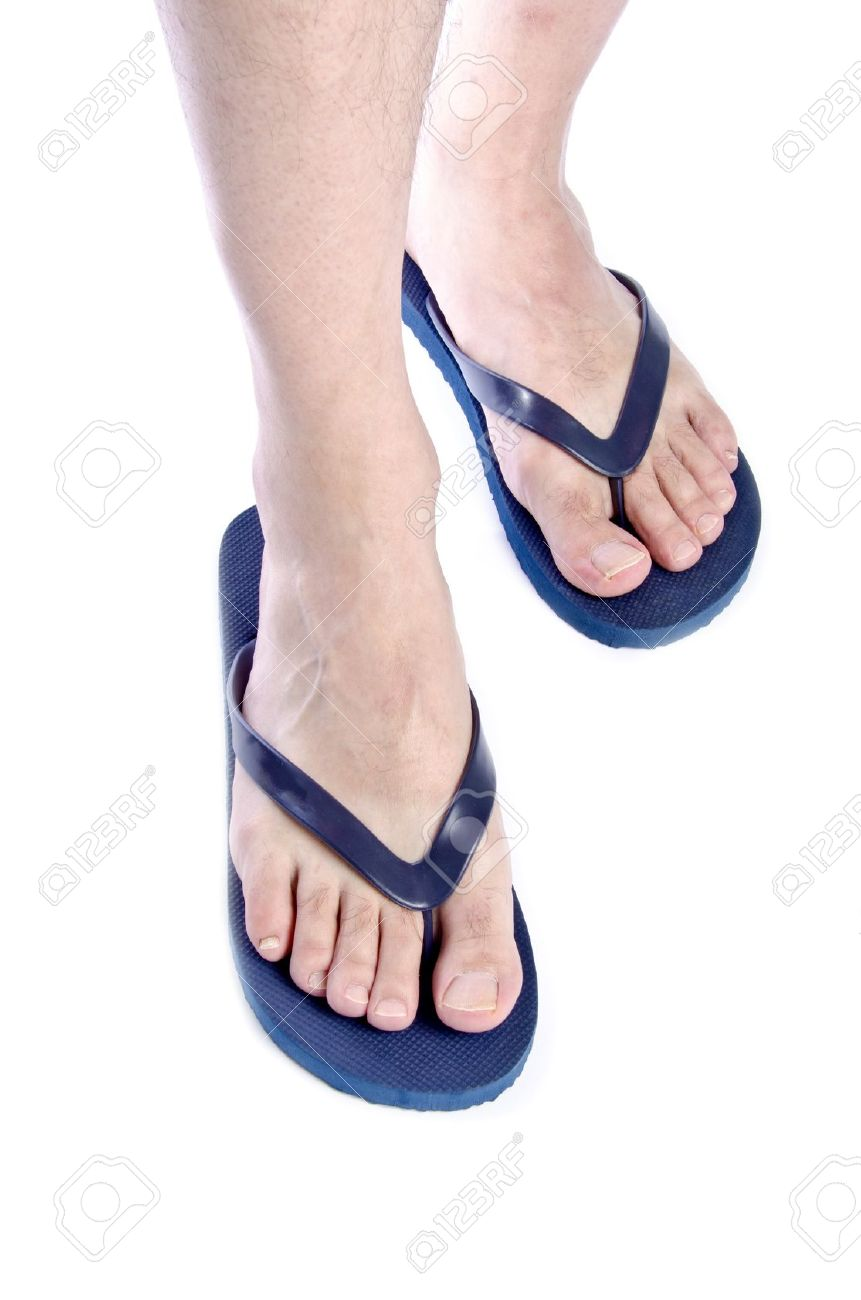 0712b5ea9 Men Wearing Navy Blue Flip Flops on White Background Stock Photo - 14285800