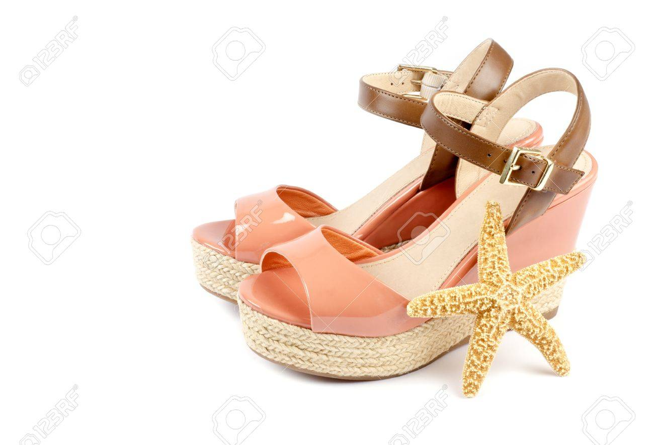 Peach Colored Wedge Sandals Isolated on White Stock Photo - 17973304