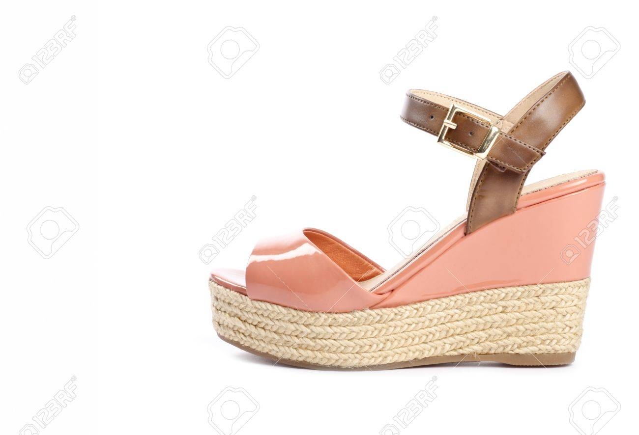 b1558cb7b Peach Colored Wedge Sandals Isolated On White Stock Photo, Picture ...