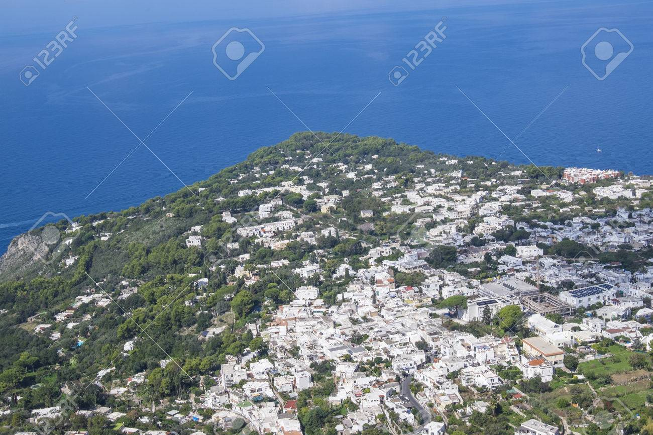 view of the coast line of anacapri see from the chair lift up