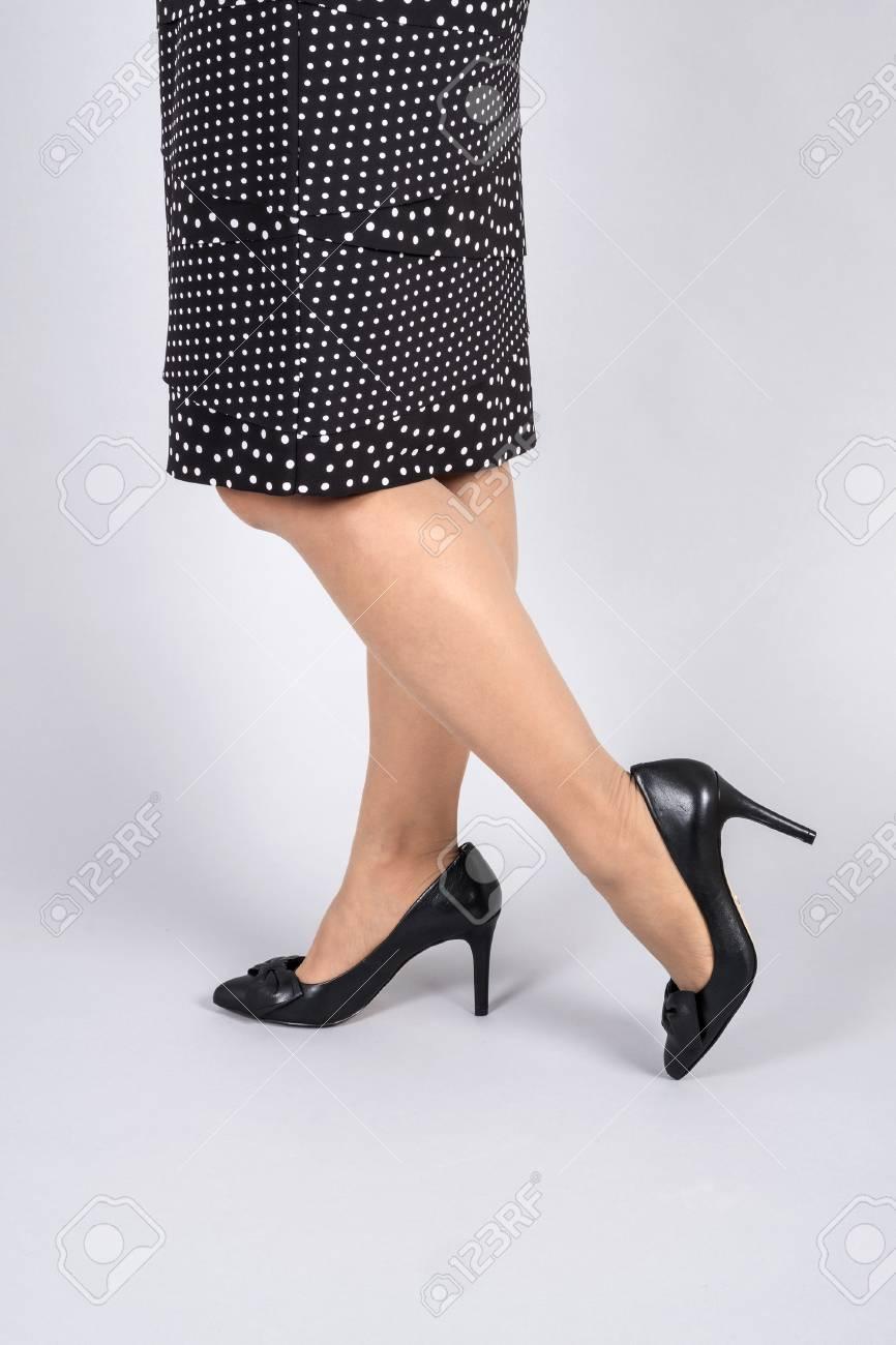 Woman Wearing Polka Dot Pencil Skirts