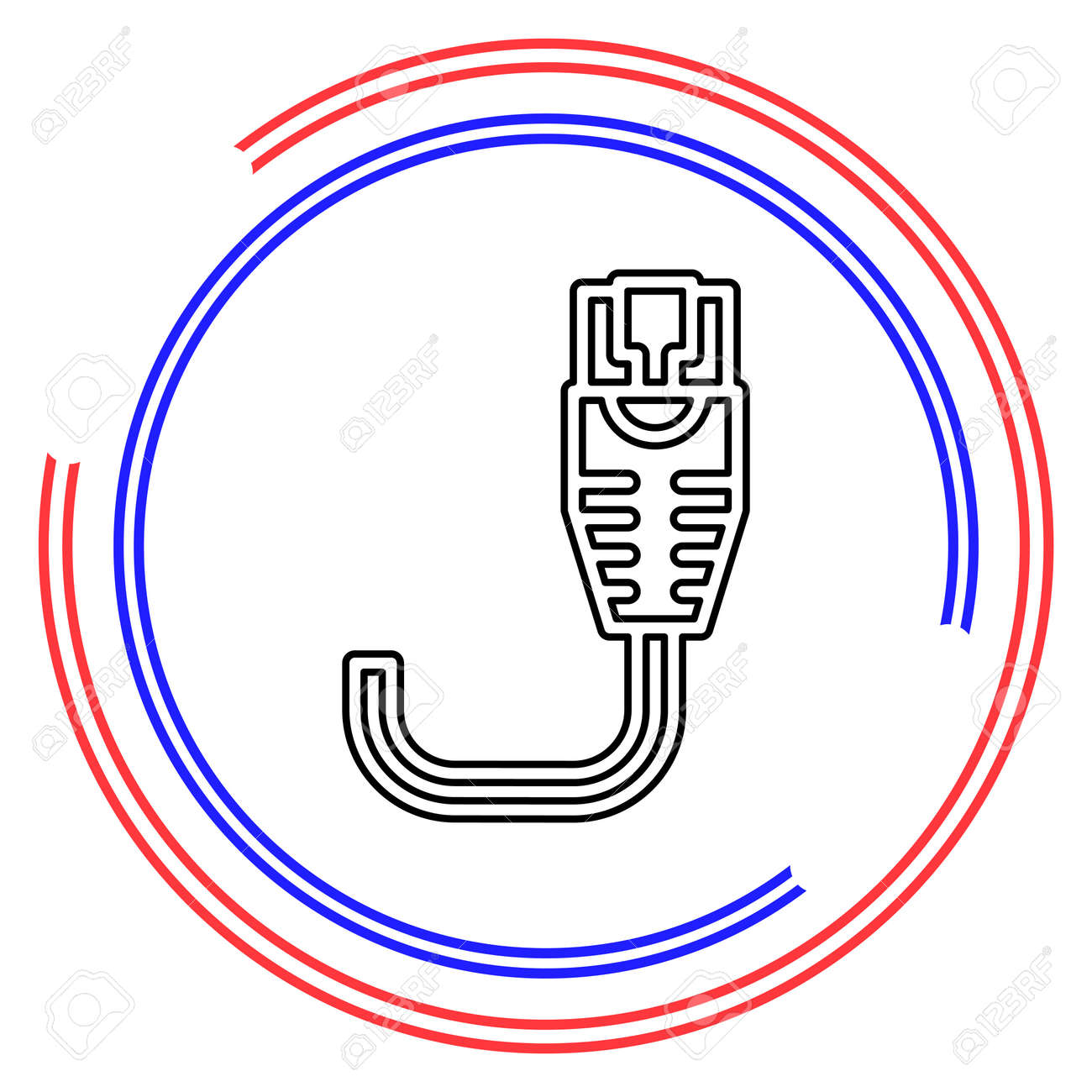 vector ethernet Cable illustration - network connection jack, socket symbol isolated. Thin line pictogram - outline editable stroke - 151803187