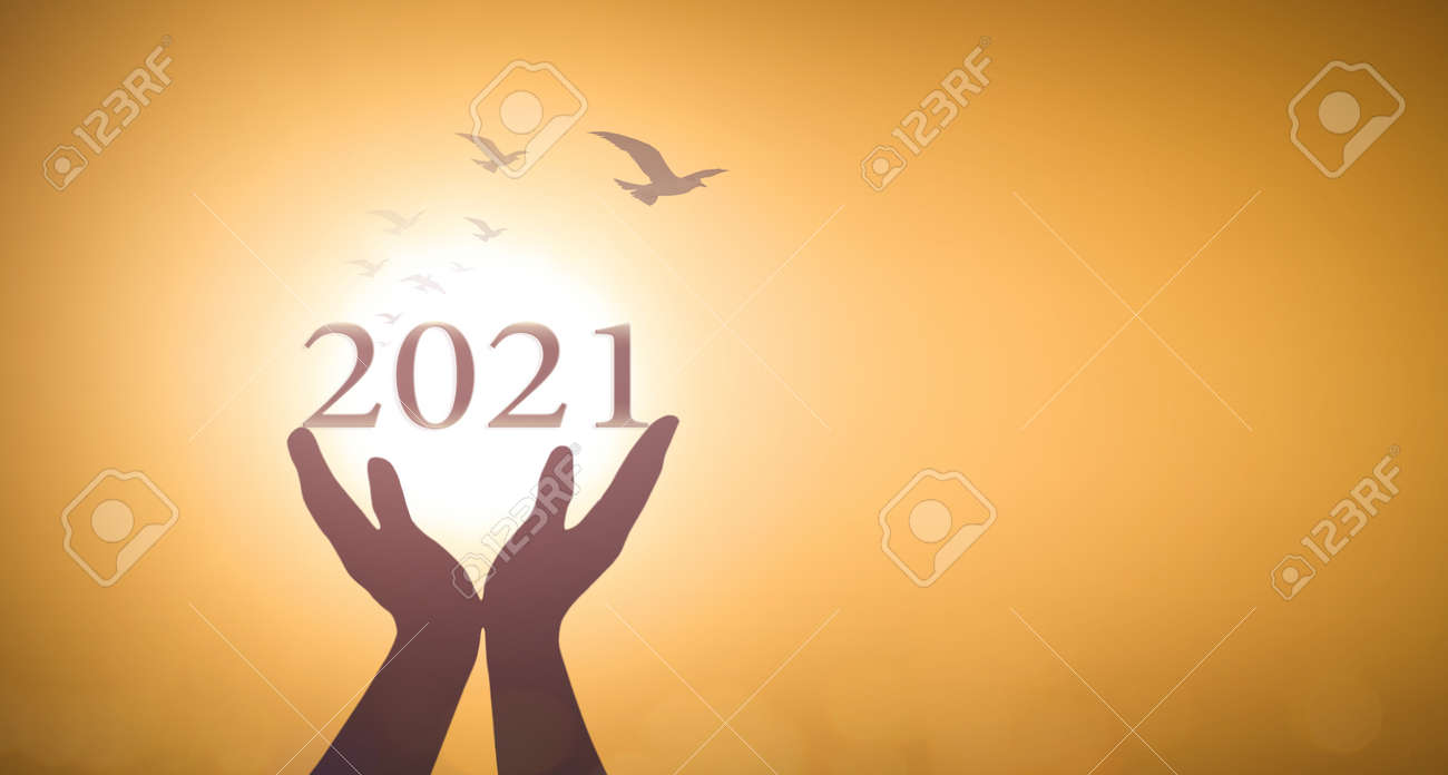New year 2021 concept: Silhouette hands show 2021 against birds flying on blurred yellow sunrise background - 160657473