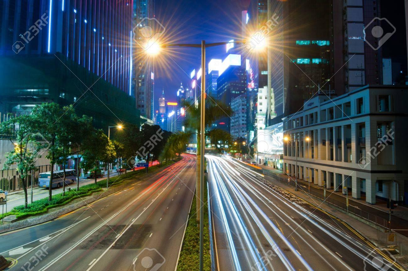 City Night Traffic In Wan Chai, Hong Kong Stock Photo   10714971