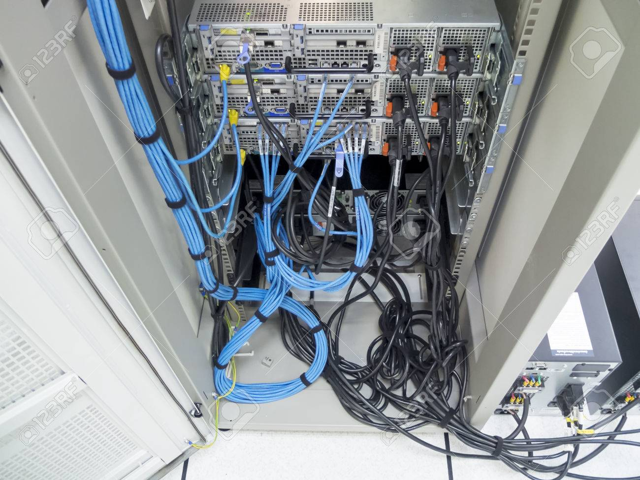 The LAN Cable Use Server Of Factory Stock Photo, Picture And Royalty ...