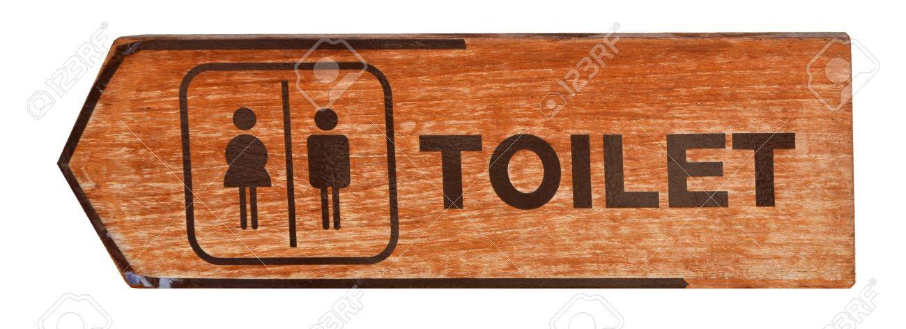 toilet plate sign on orange wall Stock Photo - 13589097