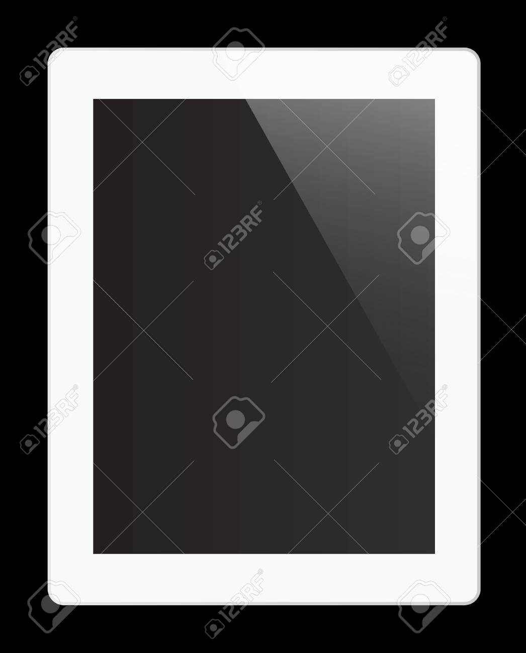Realistic tablet pc computer with blank screen isolated on black background Stock Photo - 15663258