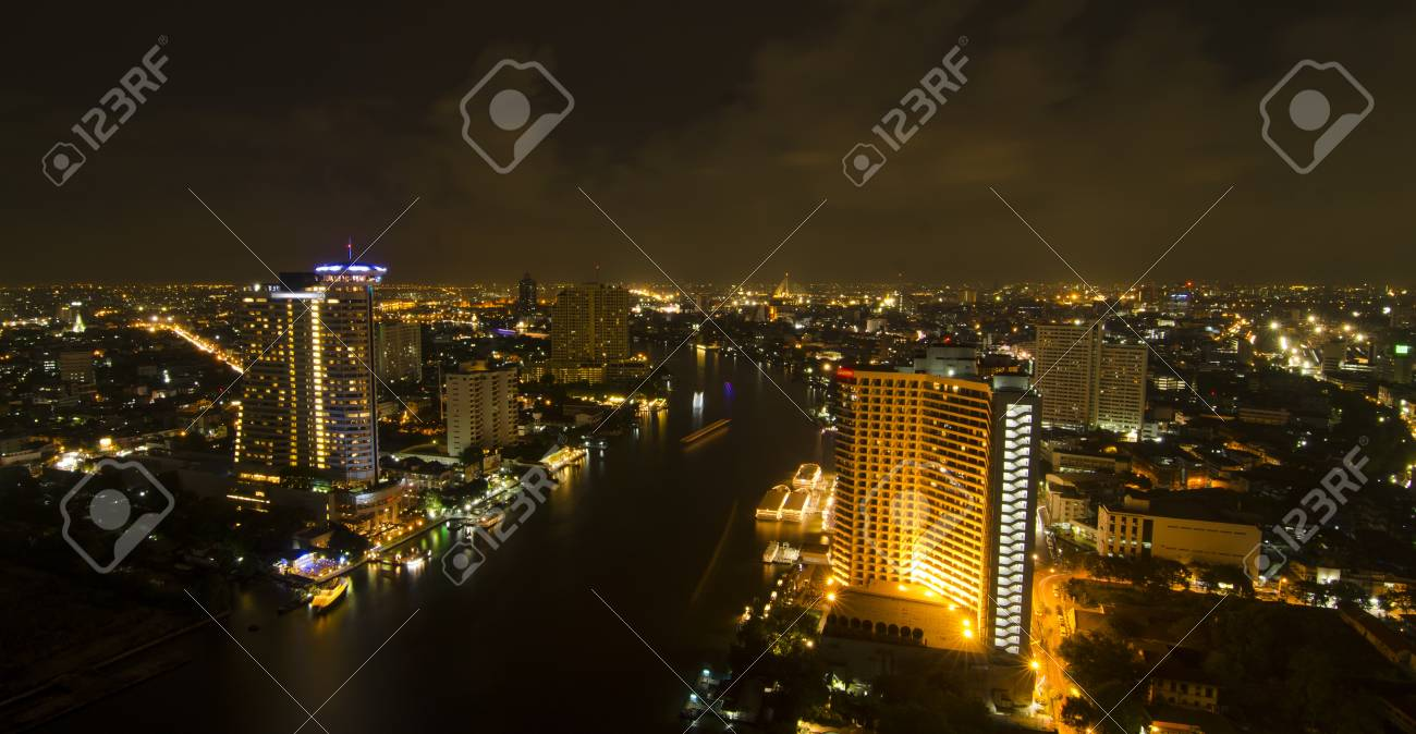 Skyscraper Bangkok Downtown Top View At Night From Of Thailand Stock Photo