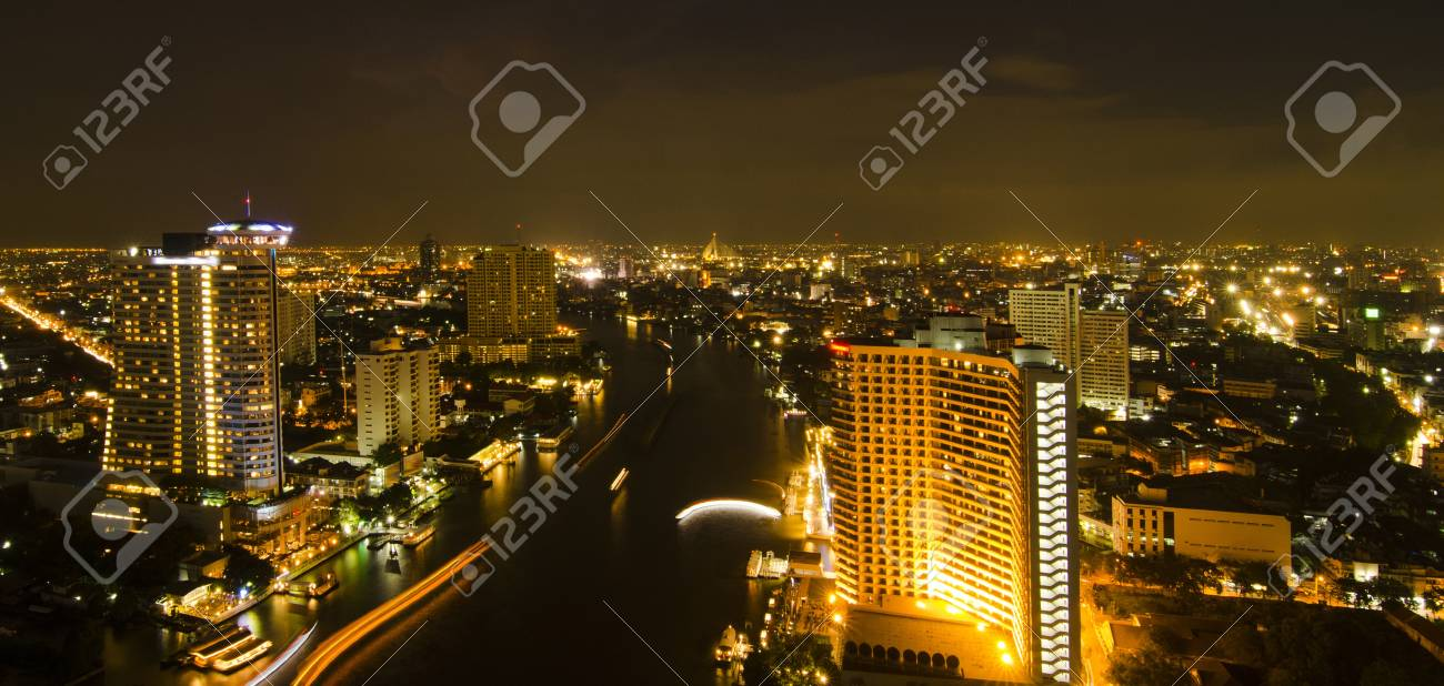 Modern city at night, Thailand Stock Photo - 17199182
