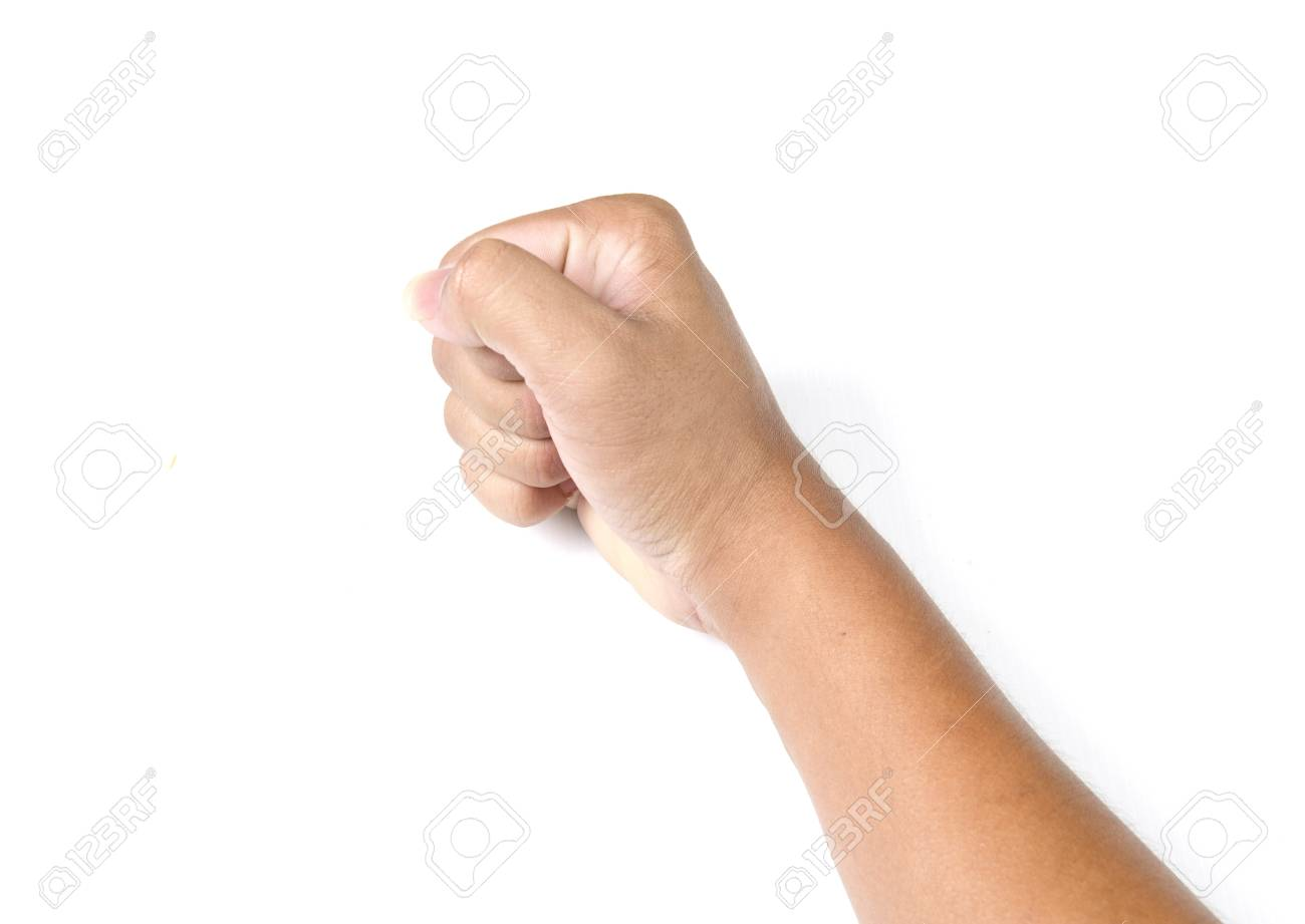 Hand with clenched a fist, isolated on a white background Stock Photo - 17813251