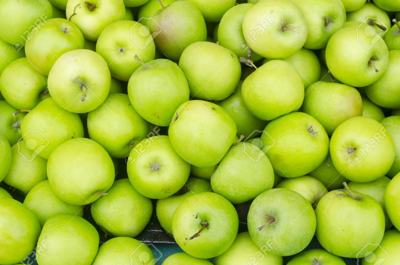 green apple background, shallow depth of field. stock photo, picture