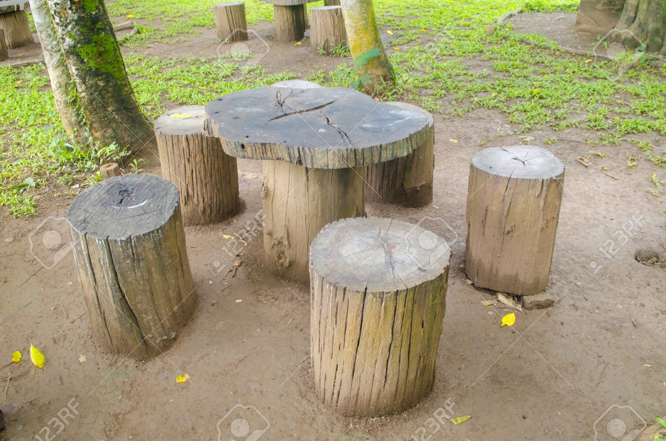 stumps seats in the park  Garden furniture made from wooden log Stock Photo    31755886. Stumps Seats In The Park  Garden Furniture Made From Wooden Log