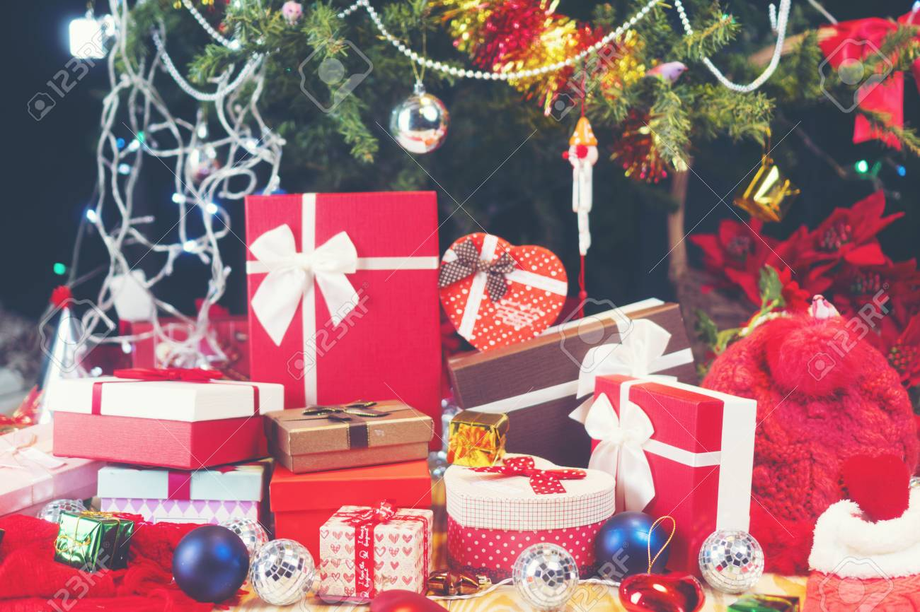 Luxury New Year Gifts Box, Present Boxes Under Christmas Tree In Holiday,  Christmastime Celebration