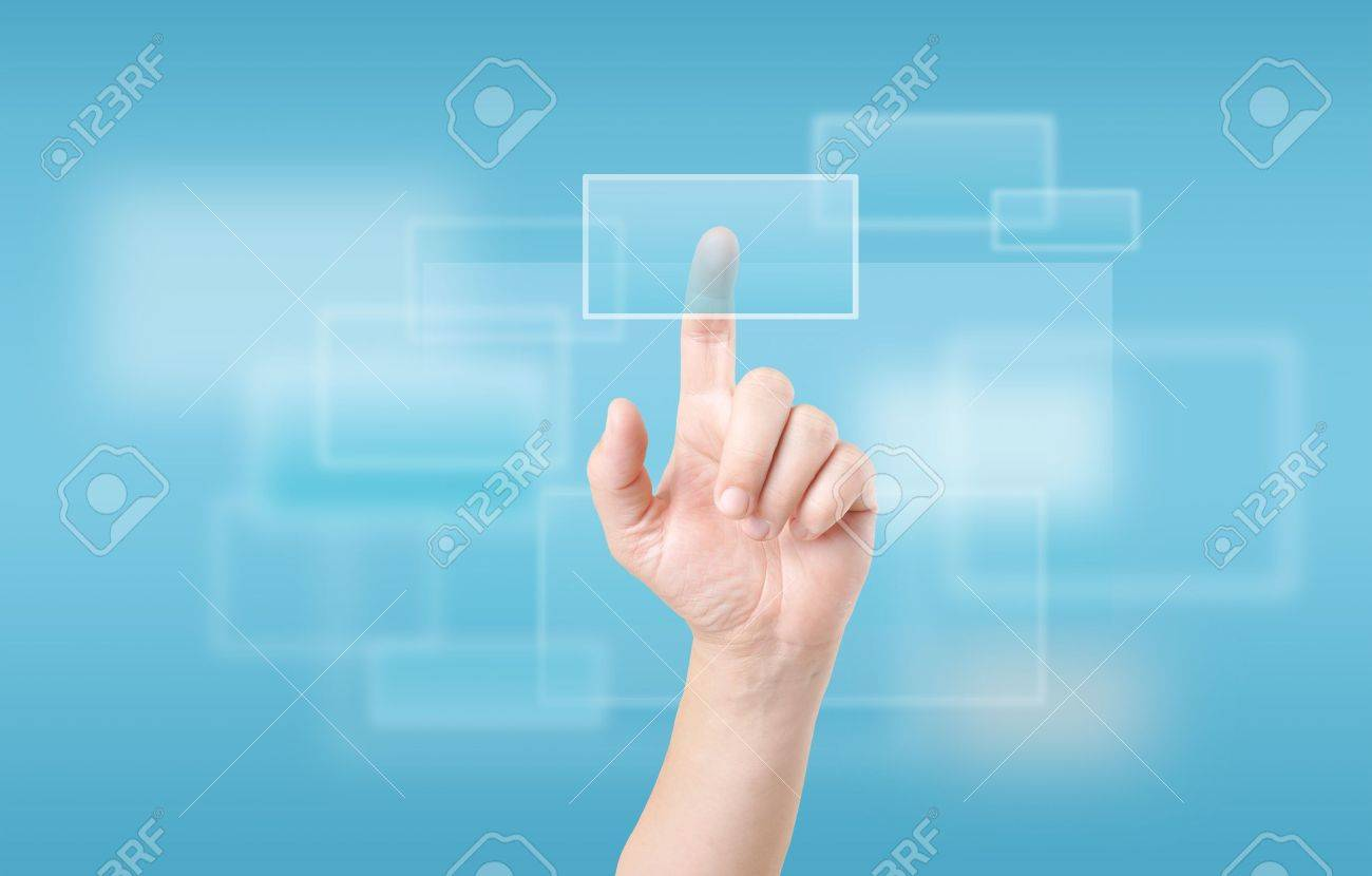 Finger Touching Transparent Digital Touch Screen Stock Photo - 17120589