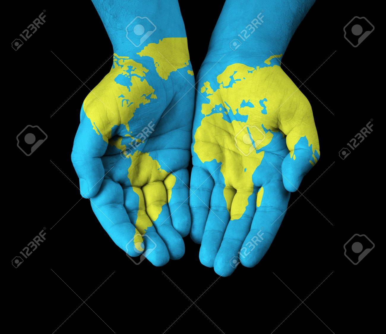 World map painted on hands stock photo picture and royalty free world map painted on hands stock photo 20613834 gumiabroncs Images