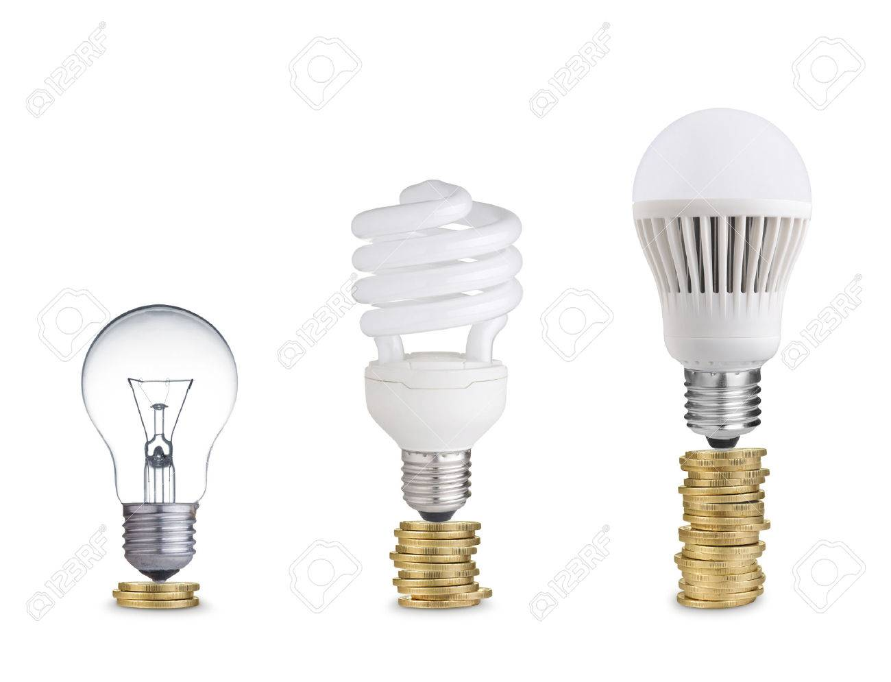 Money Saved In Different Kinds Of Light Bulbs Isolated On White Stock Photo    24835126