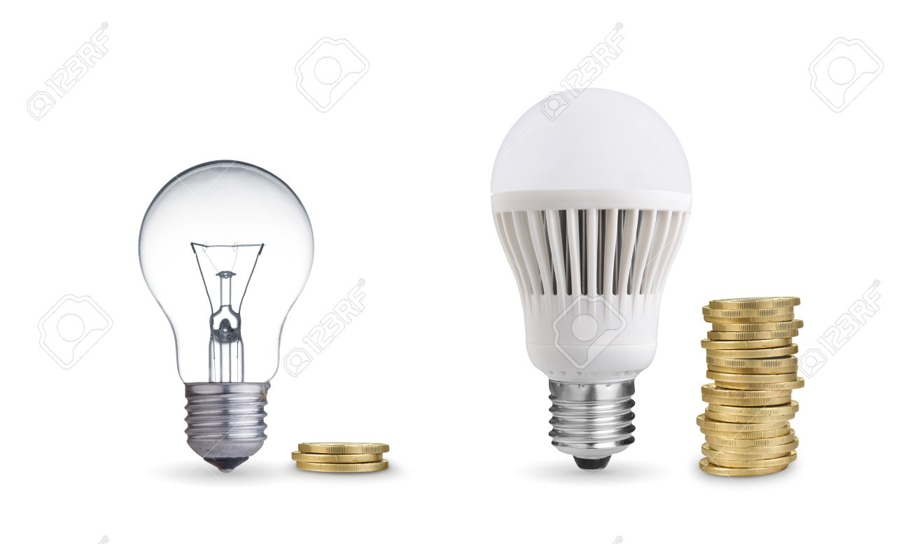Money Saved In Different Kinds Of Light Bulbs Isolated On White Stock Photo    25127776