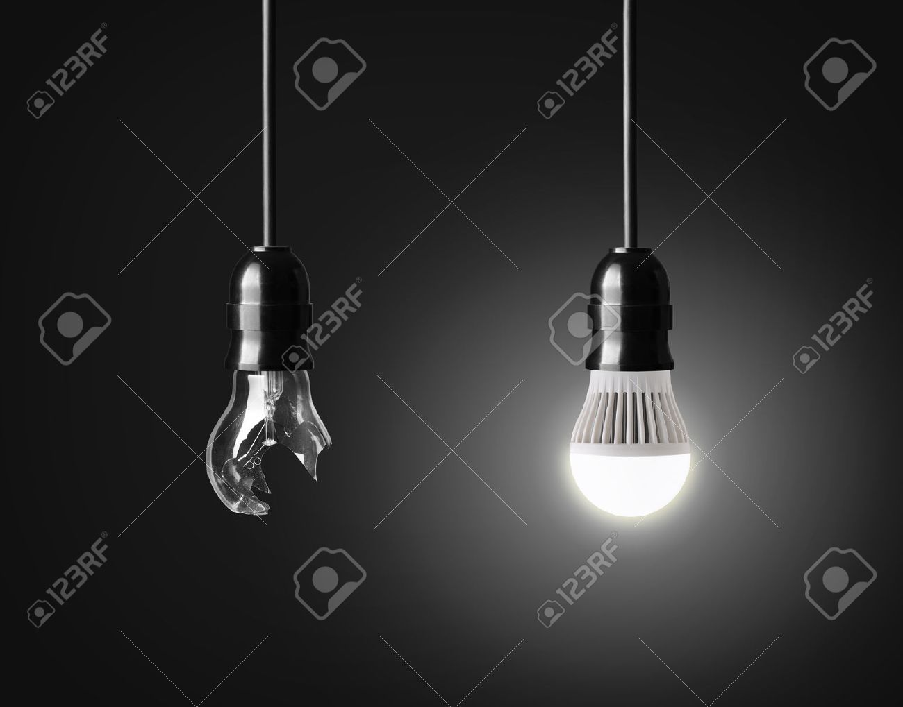 Broken light bulb and glowing LED bulb on black Stock Photo & Led Light Stock Photos. Royalty Free Led Light Images And Pictures azcodes.com