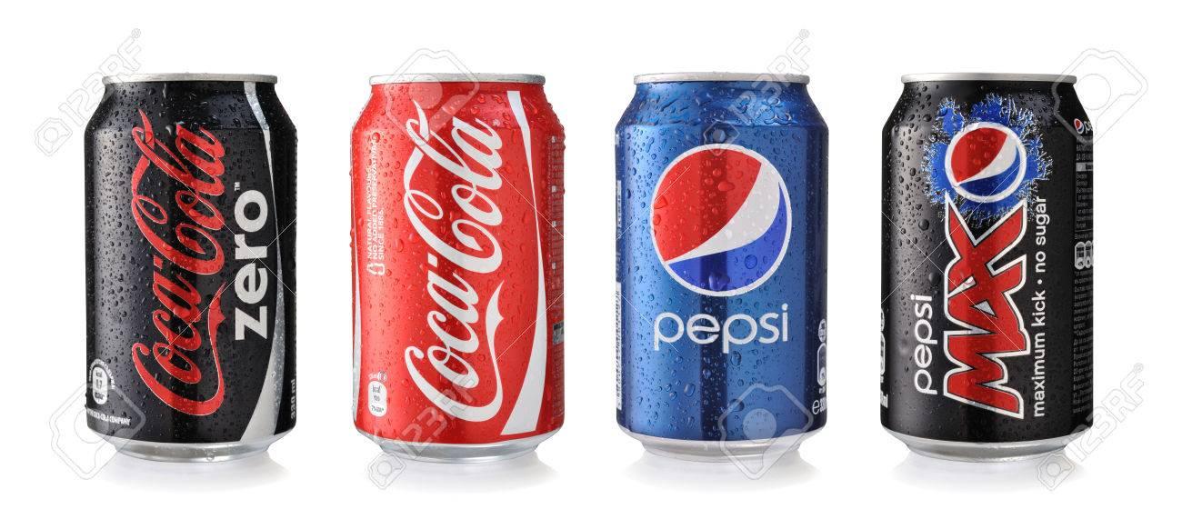 sofia bulgaria may 26 2014 coca cola and pepsi cans isolated