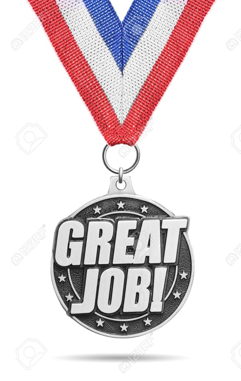 silver medal great job isolated on white stock photo picture