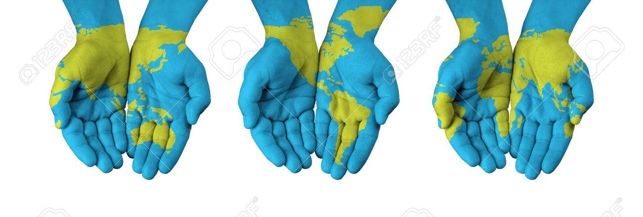 World map painted on hands isolated on white stock photo picture stock photo world map painted on hands isolated on white gumiabroncs Image collections