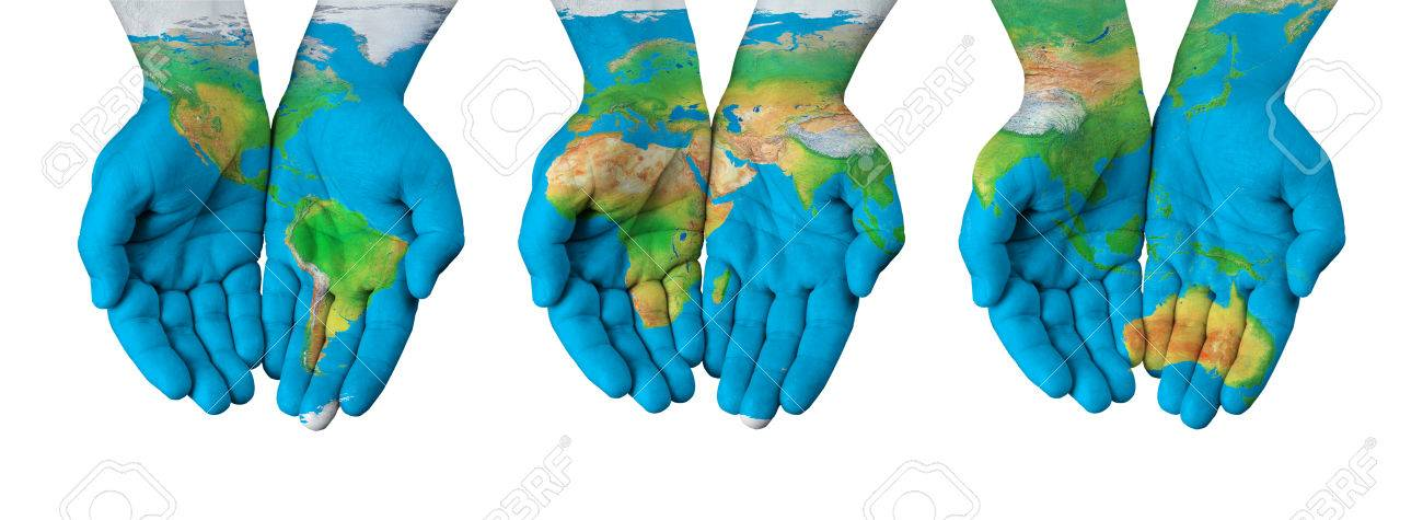 World Map On Hands.World Map Painted On Hands Isolated Stock Photo Picture And Royalty