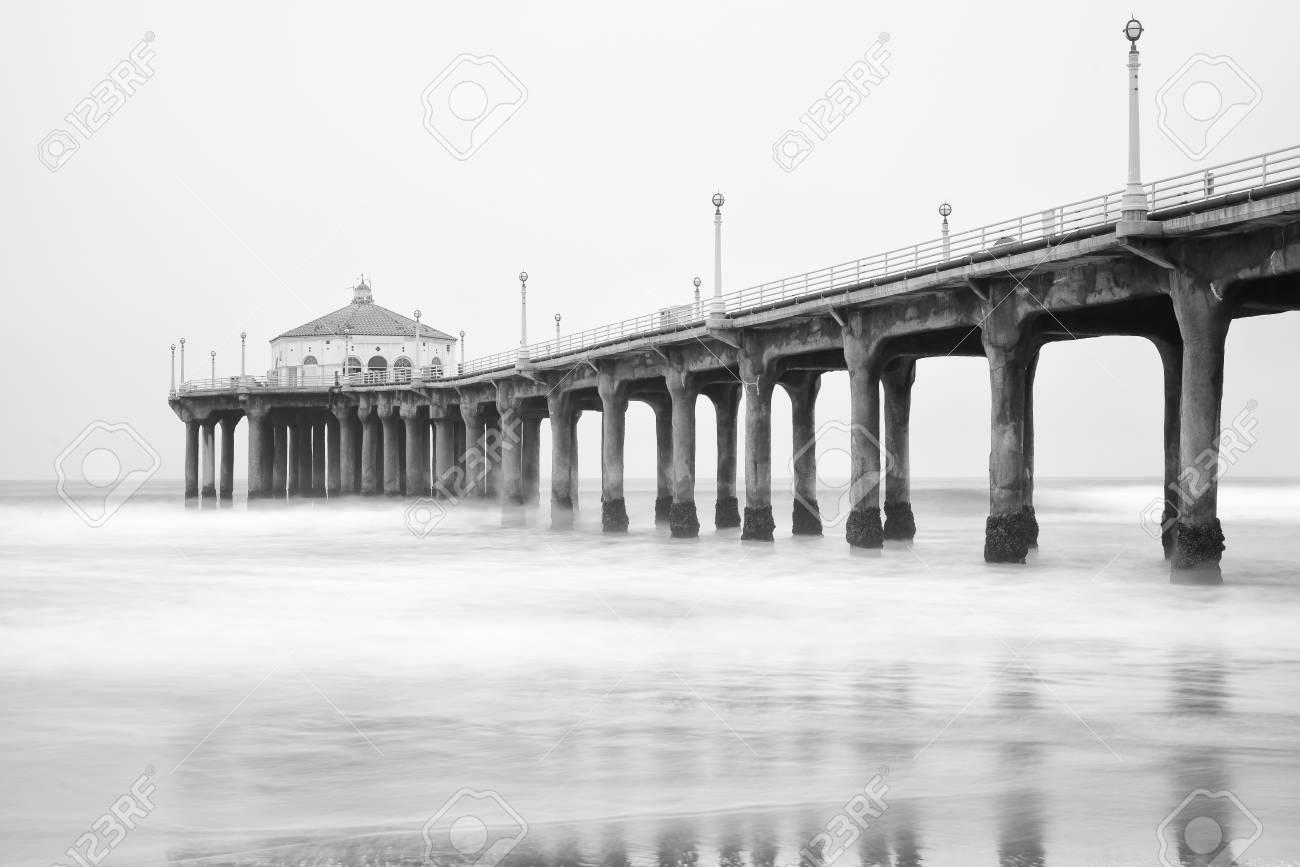 Black And White Photo Of Manhattan Beach Pier California Stock