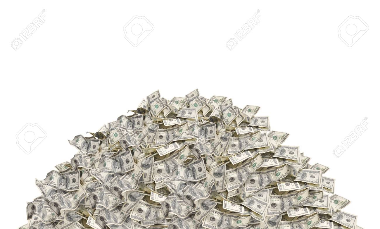 Pile with american hundred dollar bills isolated on white background - 67941751