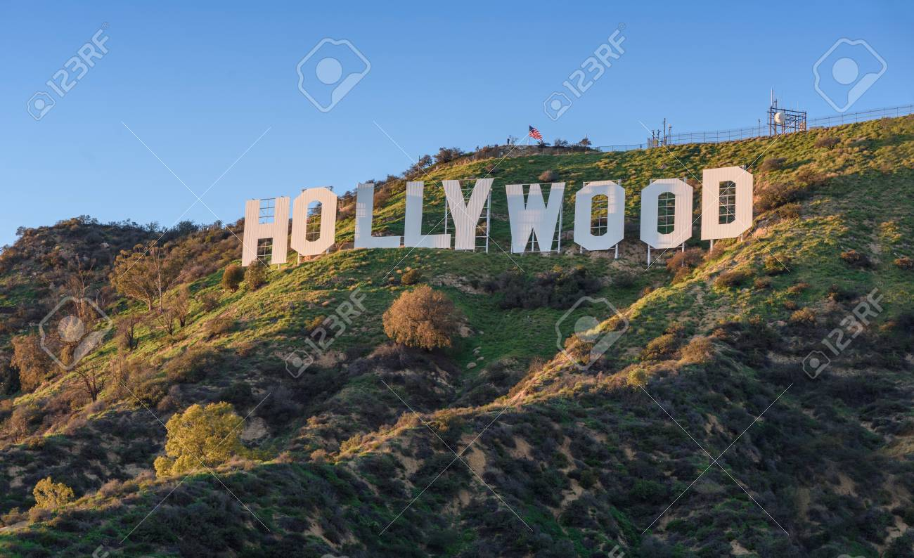 HOLLYWOOD - CALIFORNIA FEBRUARY 24, 2017: The Hollywood sign, built in 1923, is world famous landmark and American cultural icon on Mount Lee - 91487051