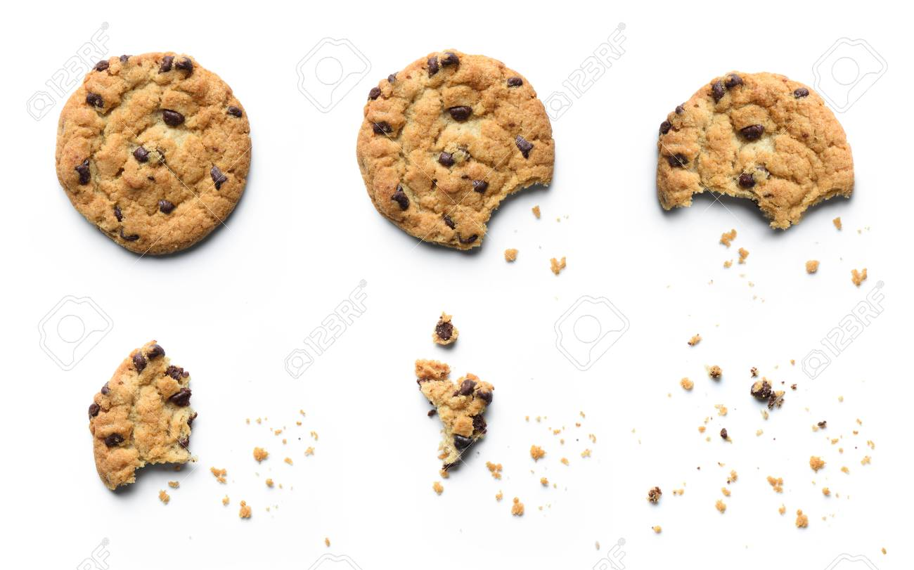 Steps of chocolate chip cookie being devoured. Isolated on white background. - 110236703