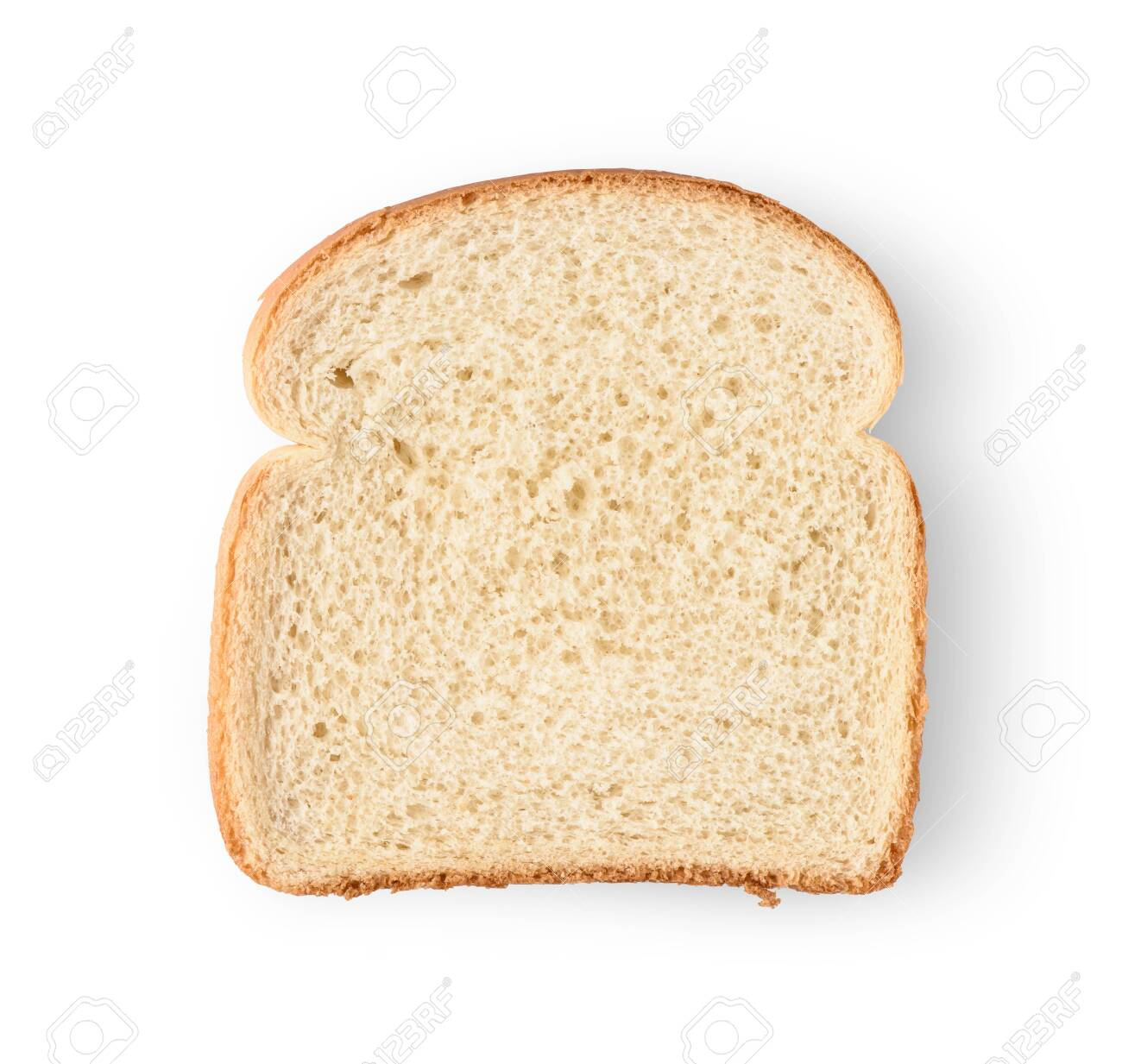 One slice of bread isolated on white background. - 124630786