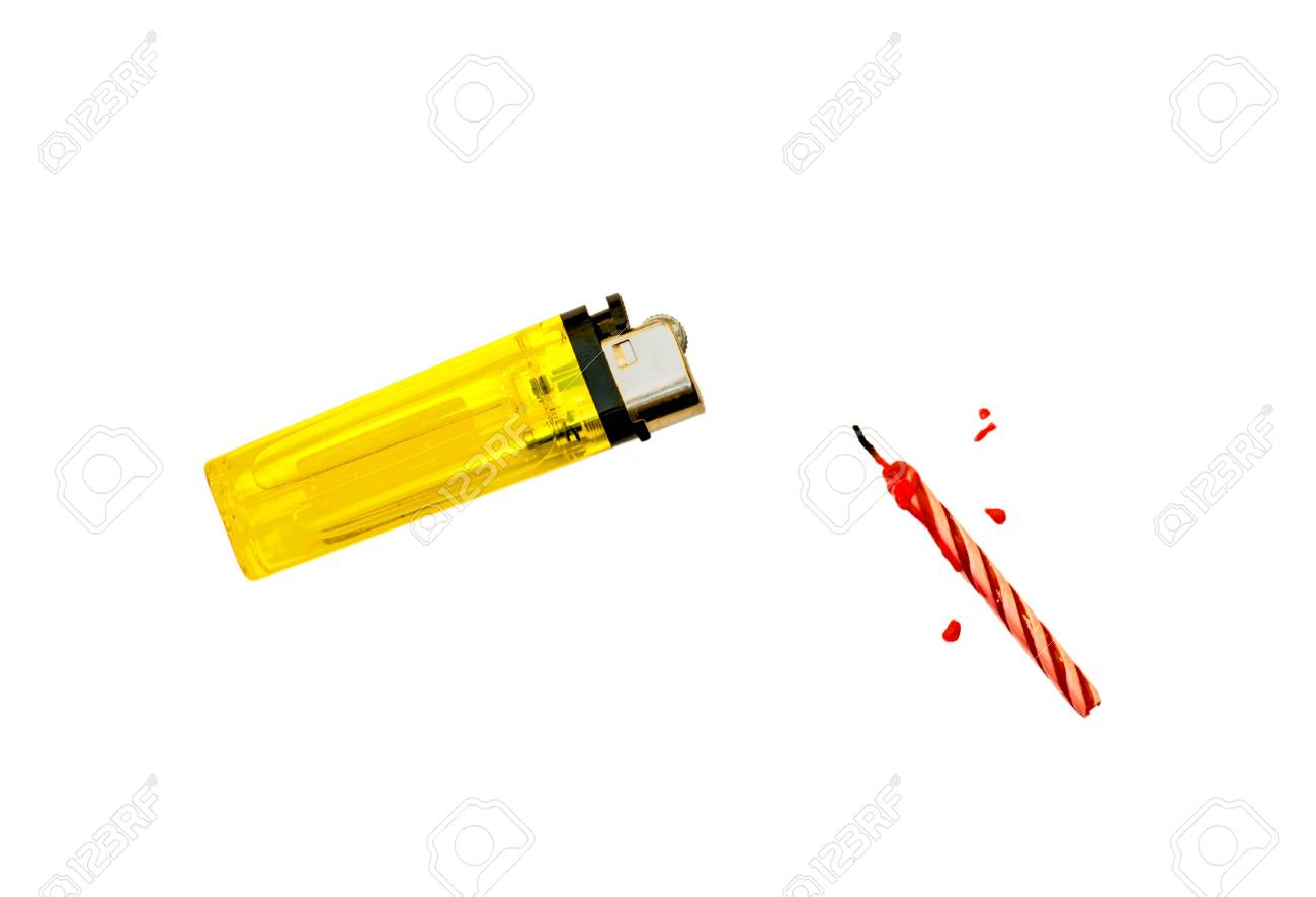 Lighters and birthday candles, Lighters yellow Stock Photo - 19024088