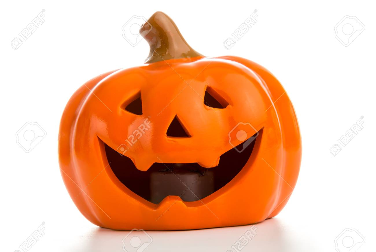Happy Halloween Pumpkin Jack O Lantern Against White Background Stock Photo Picture And Royalty Free Image Image 88277739